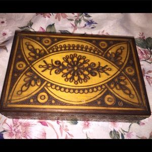 Other - Vintage Burn Carved Jewelry Box